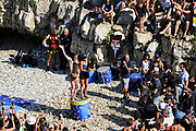 Gary Hunt and Rhiannan Iffland celebrating the winning of the championship on the podium during the Red Bull Cliff Diving World Series 2018 on September 23, 2018 in Polignano a Mare, Italy - Photo Marco Verri / ProSportsImages / DPPI