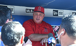 June 27, 2017 - Los Angeles, California, U.S. - Los Angeles Angels manager Mike Scioscia talks to the media prior to a Major League baseball game between the Los Angeles Angels and the Los Angeles Dodgers at Dodger Stadium on Tuesday, June 27, 2017 in Los Angeles. (Photo by Keith Birmingham, Pasadena Star-News/SCNG) (Credit Image: © San Gabriel Valley Tribune via ZUMA Wire)