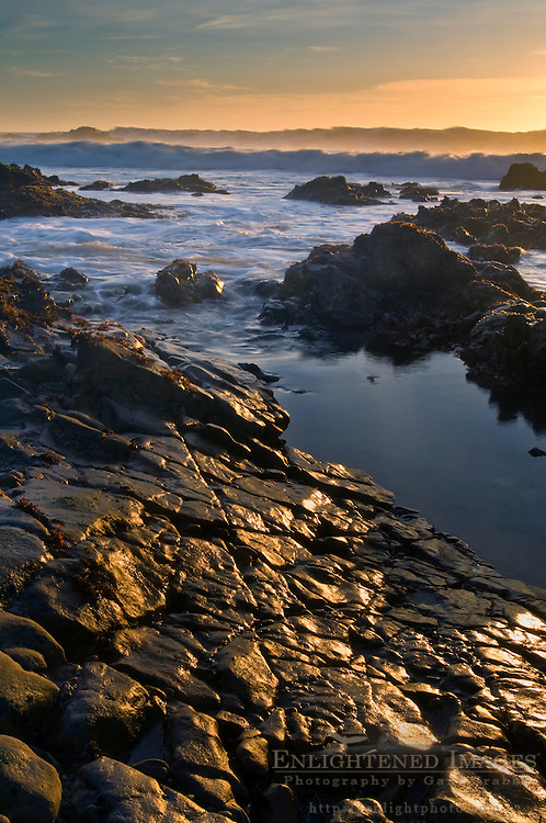 Coastal rocks at low tide at sunset, Pescadero State Beach, San Mateo County coast, California