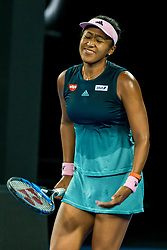 January 24, 2019 - Melbourne, VIC, U.S. - MELBOURNE, AUSTRALIA - JANUARY 24 : Naomi Osaka of ÊJapan shows her frustration during the semifinals on day 11 of the Australian Open on January 24 2019, at Melbourne Park in Melbourne, Australia.(Photo by Jason Heidrich/Icon Sportswire) (Credit Image: © Jason Heidrich/Icon SMI via ZUMA Press)