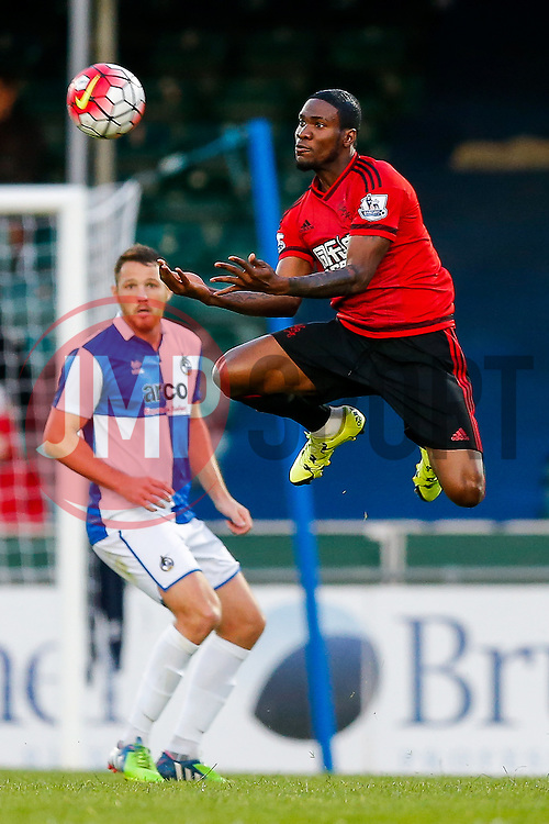 Brown Ideye of West Brom makes an athletic leap to control the ball - Mandatory byline: Rogan Thomson/JMP - 07966 386802 - 31/07/2015 - FOOTBALL - Memorial Stadium - Bristol, England - Bristol Rovers v West Bromwich Albion - Phil Kite Testimonial Match.