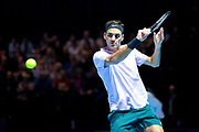 Roger Federer slices a backhand return during the Andy Murray Live event at SSE Hydro, Glasgow, Scotland on 7 November 2017. Photo by Craig Doyle.