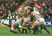 1997 Heineken European Cup,, Quins vs Leicester Tigers   Stoop, 18-4-98. Quins Full back Scott Stewart gets in low  © Peter Spurrier. [Mandatory Credit, Peter Spurrier/ Intersport Images]