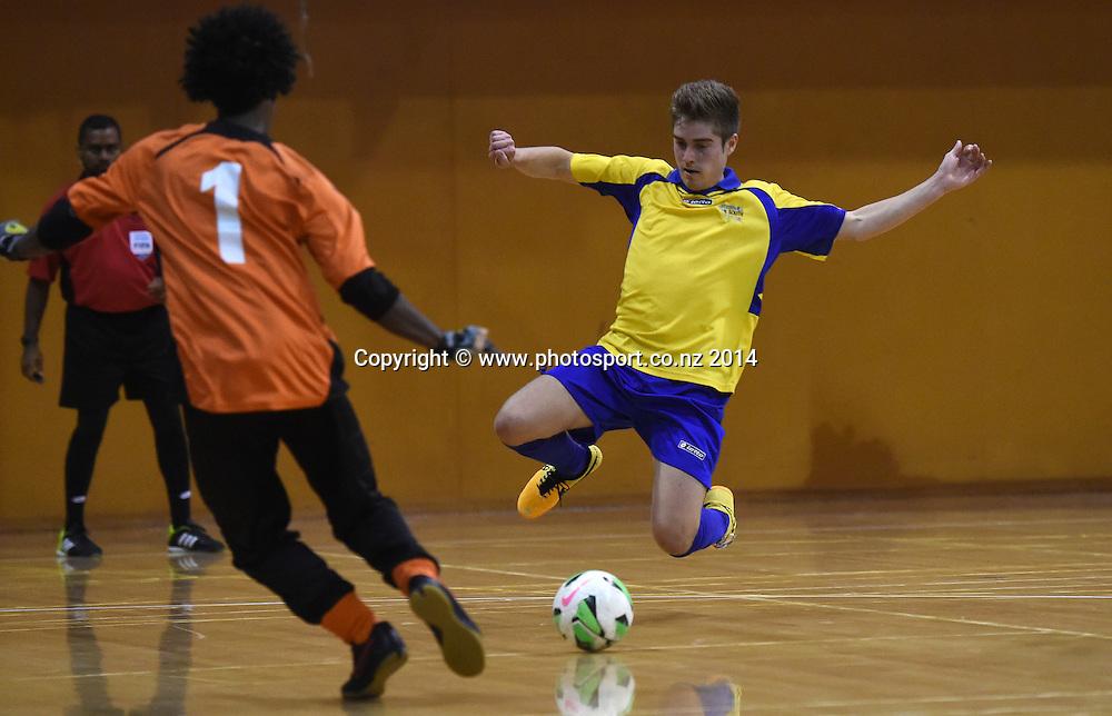 Tom Morley of Futsal South v Northern Futsal. National Futsal League, Series 3. ASB Stadium, Auckland, New Zealand. Friday 5 December 2014. Photo: Andrew Cornaga/photosport.co.nz