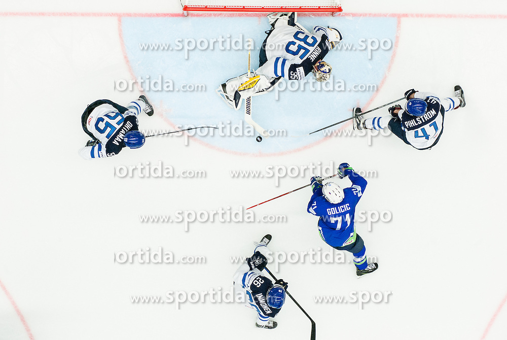 Bostjan Golicic of Slovenia vs Atte Ohtamaa of Finland, Pekka Rinne of Finland, Jarkko Immonen of Finland and Antti Pihlstrom of Finland during Ice Hockey match between Finland and Slovenia at Day 7 in Group B of 2015 IIHF World Championship, on May 7, 2015 in CEZ Arena, Ostrava, Czech Republic. Photo by Vid Ponikvar / Sportida