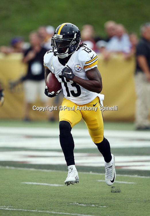 Pittsburgh Steelers kick returner Dri Archer (13) returns a kick before the 2015 NFL Pro Football Hall of Fame preseason football game against the Minnesota Vikings on Sunday, Aug. 9, 2015 in Canton, Ohio. The Vikings won the game 14-3. (©Paul Anthony Spinelli)