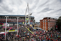 General View of the Millennium Stadium as supporters wait outside for the team coaches to arrive - Mandatory byline: Rogan Thomson/JMP - 07966 386802 - 20/09/2015 - RUGBY UNION - Millennium Stadium - Cardiff, Wales - Wales v Uruguay - Rugby World Cup 2015 Pool A.