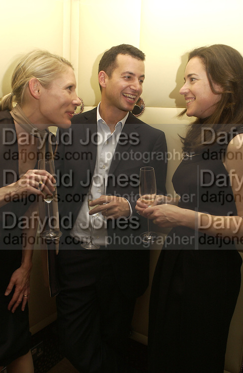 Emily King, Matthew Slotover and Hilary Hatch. Jay Jopling and White Cube host a post Frieze opening party at Sketch. London. 20 October 2005. ONE TIME USE ONLY - DO NOT ARCHIVE © Copyright Photograph by Dafydd Jones 66 Stockwell Park Rd. London SW9 0DA Tel 020 7733 0108 www.dafjones.com