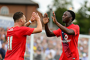 Marvin McCoy & Josh Carson celebrate McCoys goal during the Friendly match between York City and Sheffield Wednesday at Bootham Crescent, York, England on 18 July 2015. Photo by Simon Davies.