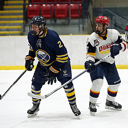 WELLINGTON, ON - JANUARY 13: Jeremy Swartz #2 of the Buffalo Jr. Sabres and Elijah Gonsalves #27 of the Wellington Dukes in the first period on January 13, 2019 at Wellington and District Community Centre in Wellington, Ontario, Canada.<br /> (Photo by Ed McPherson / OJHL Images)