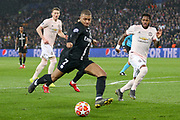 Kylian Mbappe of Paris Saint-Germain shoots at goal and Manchester United Midfielder Fred challenges during the Champions League Round of 16 2nd leg match between Paris Saint-Germain and Manchester United at Parc des Princes, Paris, France on 6 March 2019.