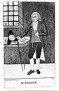 William Brodie (d1788) prosperous Edinburgh cabinetmaker. Brodie had secret life as leader of gang of burglars. Hanged for robbing Excise Office in Edinburgh. Subject of RL Stevenson's 'Deacon Brodie' 1880. Etching by John Kay
