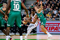 Derrick Brown of KK Crvena Zvezda MTS and Edo Muric of KK Cedevita Olimpija during ABA basketball league round 9 match between teams KK Cedevita Olimpija and KK Crvena Zvezda MTS in Arena Stozice, 1. December, 2019, Ljubljana, Slovenia. Photo by Grega Valancic / Sportida