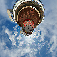 LZ Factory Back Street - Little Planet View. Composite of 25 images taken with a Nikon D850 camera and 8-15 mm fisheye lens (ISO 110, 15 mm, f/8, 1/320 sec). Raw images processed with Capture One Pro and stitched together with AutoPano Giga.