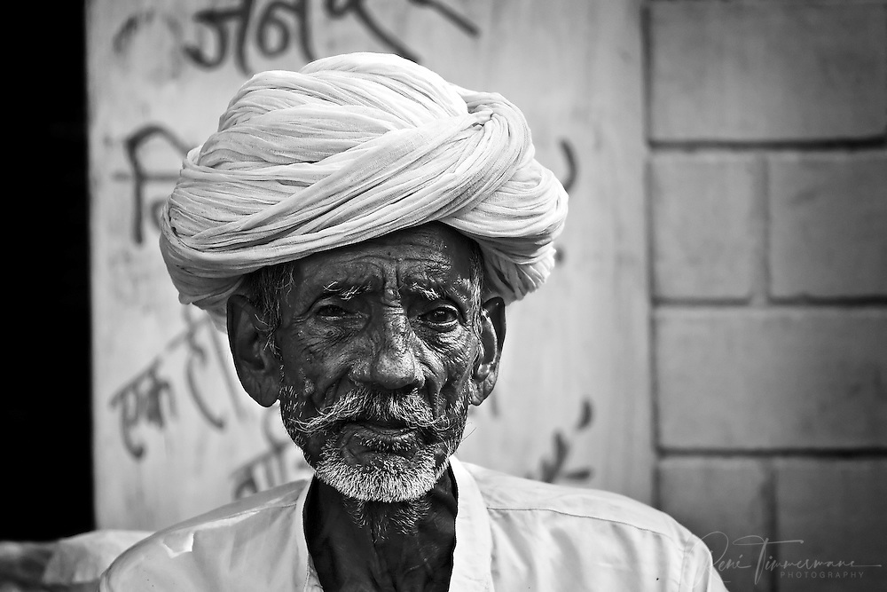 Portrait of indian man in rajasthan
