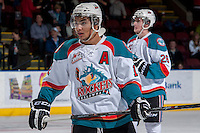 KELOWNA, CANADA -FEBRUARY 25: Tyrell Goulbourne #12 of the Kelowna Rockets stands on the ice against the Prince George Cougars on February 25, 2014 at Prospera Place in Kelowna, British Columbia, Canada.   (Photo by Marissa Baecker/Getty Images)  *** Local Caption *** Tyrell Goulbourne;