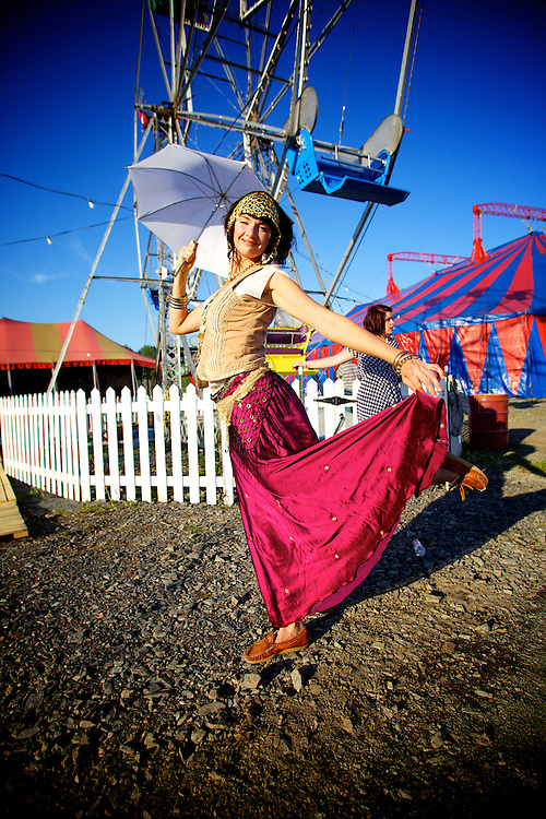 Carnivale Lune Bleue, a special Carnival featuring 1930s period rides, shows and and carnies takes place in Bromont, Quebec all summer long.