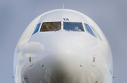 © Licensed to London News Pictures. 27/02/2020. London, UK. The pilots of a passenger aircraft are seen in the cockpit as they come in to land at London's Heathrow Airport. Earlier, in a ruling at the High Court, judges halted the planned construction of a third runway at the London airport saying the decision was unlawful because it did not take UK climate commitments into account. Photo credit: Peter Macdiarmid/LNP