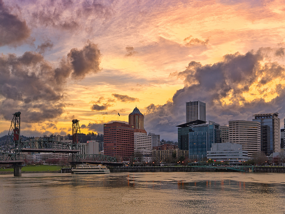 Portland Skyline during Sunset, Waterfront Park, Portland, OR