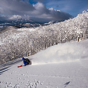 Jake Cohn drops into the trees on Mt Isola, at Rusutsu Resort, Japan, with Mt Yotei shrouded by cloud in the distance.