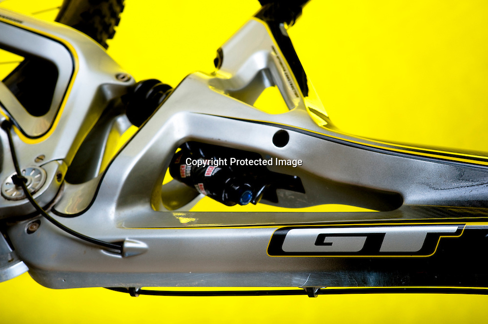 Studio image of a carbon fiber GT Bicycles Fury downhill race bike.