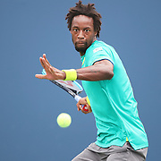2017 U.S. Open Tennis Tournament - DAY SIX. Gael Monfils of France in action against David Goffin of Belgium in the Men's Singles round three match at the US Open Tennis Tournament at the USTA Billie Jean King National Tennis Center on September 02, 2017 in Flushing, Queens, New York City.  (Photo by Tim Clayton/Corbis via Getty Images)