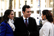 Leighton Meester, Ed Westwick and Laura Herring appear on the set as Gossip Girls tapes in Lincoln Center in New York City on December 1, 2009.