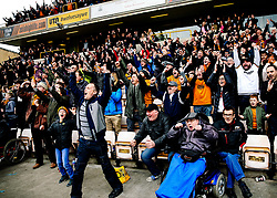 Wolverhampton Wanderers fans celebrate their 2nd goal in the game after securing automatic promotion from the Sky Bet Championship to the Premier League - Rogan/JMP - 15/04/2018 - Molineux - Wolverhampton, England - Wolverhampton Wanderers v Birmingham City - Sky Bet Championship.