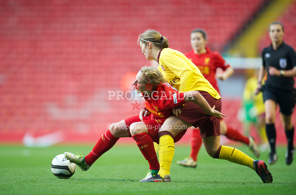 LIVERPOOL, ENGLAND - Friday, April 26, 2013: Liverpool's Natasha Dowie in action against Arsenal's Ciara Grant during the FA Women's Cup Semi-Final match at Anfield. (Pic by David Rawcliffe/Propaganda)