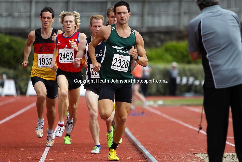 Brad Mathas leads during the first lap of the 800m at the NZ Track and Field Championships Saturday 23 March 2013.  Photo: Heath Johnson/photosport.co.nz