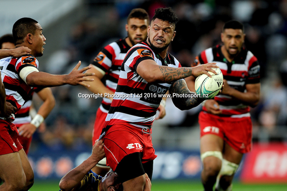 Hikawera Elliot of Counties looks to offload during the Mitre 10 Competition match between Otago and Counties at Forsyth Barr Stadium on October 8, 2016 in Dunedin, New Zealand. Credit: Joe Allison / www.Photosport.nz