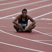 Ghfran Almouhamad, Syria, after finishing eighth in the Women's 400m Hurdles heats at the Olympic Stadium, Olympic Park, Stratford at the London 2012 Olympic games. London, UK. 5th August 2012. Photo Tim Clayton