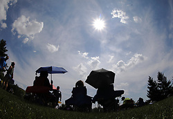 August 21, 2017 - Lexington, Kentucky, U.S. - As the time of the solar eclipse approached, several hundred people came to Thoroughbred Park in downtown Lexington. (Credit Image: © Lexington Herald-Leader via ZUMA Wire)