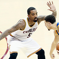 10 June 2016: Cleveland Cavaliers guard J.R. Smith (5) defends on Golden State Warriors guard Klay Thompson (11) during the Golden State Warriors 108-97 victory over the Cleveland Cavaliers, during Game Four of the 2016 NBA Finals at the Quicken Loans Arena, Cleveland, Ohio, USA.