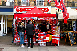 A stall selling Arsenal manager Arsene Wenger scarfs and half and half scarves for Arsenal v Atletico Madrid - Mandatory by-line: Robbie Stephenson/JMP - 26/04/2018 - FOOTBALL - Emirates Stadium - London, England - Arsenal v Atletico Madrid - UEFA Europa League Semi Final 1st Leg