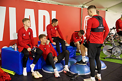 CARDIFF, WALES - Saturday, October 13, 2018: Wales players cool down after a training session at the Vale Resort ahead of the UEFA Nations League Group Stage League B Group 4 match between Republic of Ireland and Wales. David Brooks, Joe Rodon, Connor Roberts, Declan John, Ben Woodburn. (Pic by David Rawcliffe/Propaganda)