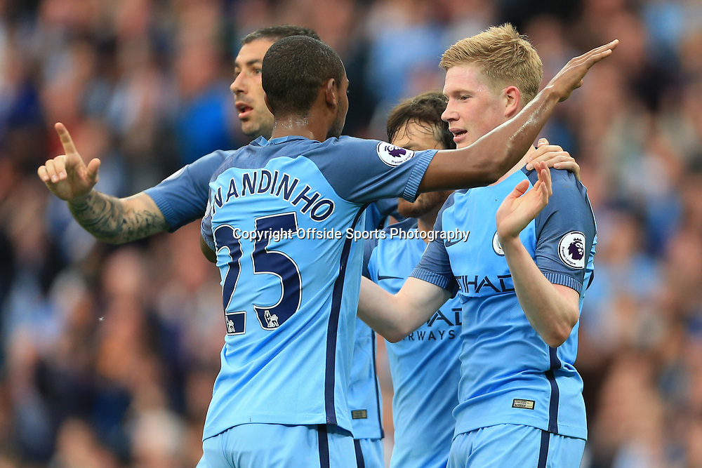 16th May 2017 - Premier League - Manchester City v West Bromwich Albion - Kevin De Bruyne of Man City (R) celebrates after scoring their 2nd goal - Photo: Simon Stacpoole / Offside.
