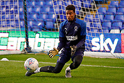 AFC Wimbledon goalkeeper Nathan Trott (1), on loan from West Ham United, warming up  during the EFL Sky Bet League 1 match between Coventry City and AFC Wimbledon at the Trillion Trophy Stadium, Birmingham, England on 17 September 2019.