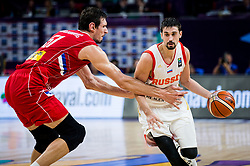 Boban Marjanovic of Serbia vs Aleksei Shved of Russia during basketball match between National Teams of Russia and Serbia at Day 16 in Semifinal of the FIBA EuroBasket 2017 at Sinan Erdem Dome in Istanbul, Turkey on September 15, 2017. Photo by Vid Ponikvar / Sportida
