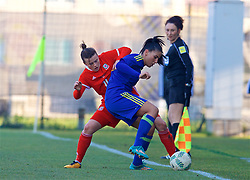 ZENICA, BOSNIA AND HERZEGOVINA - Tuesday, November 28, 2017: Wales' Hayley Ladd during the FIFA Women's World Cup 2019 Qualifying Round Group 1 match between Bosnia and Herzegovina and Wales at the FF BH Football Training Centre. (Pic by David Rawcliffe/Propaganda)