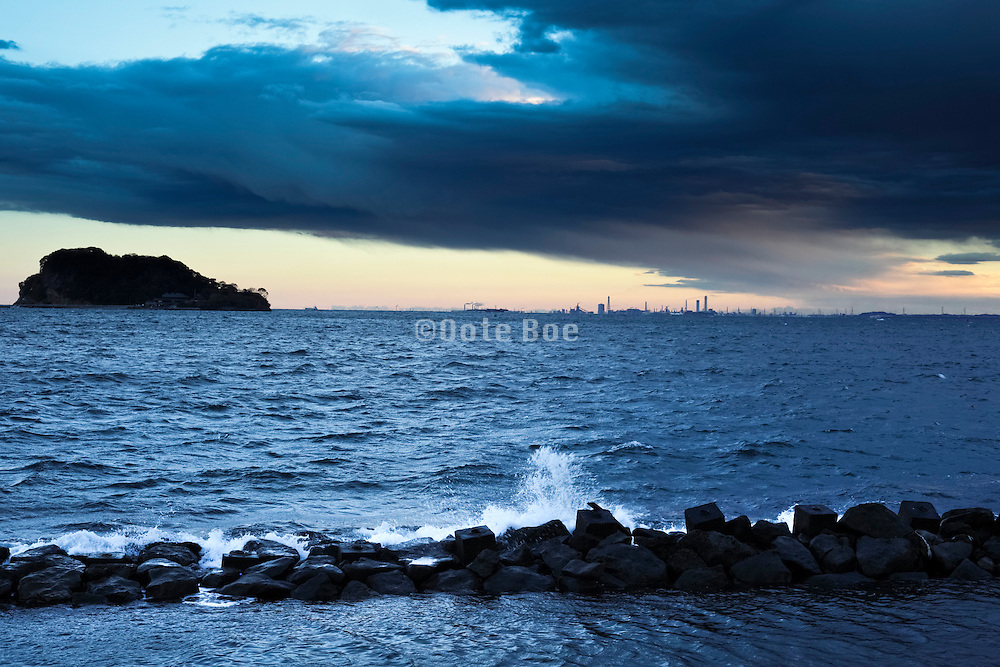 viewTokyo Bay from Yokosuka with in the distance heavy industry at Chiba prefecture Japan