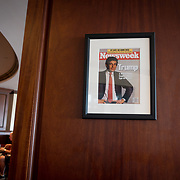DORAL, FLORIDA, JANUARY 10, 2018<br /> Framed portrait of President Donald Trump on the cover of a Newsweek Magazine hanging from a column in the Champions Sports Bar &amp; Grill at the Trump National Doral Miami.<br /> (Photo by Angel Valentin/Freelance)