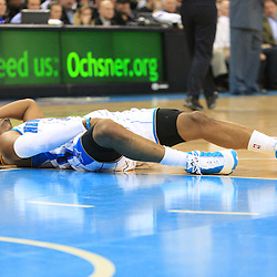 02 February 2009: New Orleans Hornets guard Chris Paul (3) lays on the ground after injuring his groin on a play during a 97-89 loss by the New Orleans Hornets to the Portland Trail Blazers at the New Orleans Arena in New Orleans, LA.