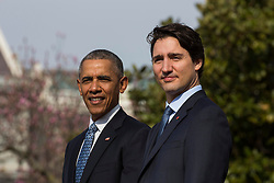 U.S. President Barack Obama (L) welcomes Prime Minister of Canada Justin Trudeau (R) at an arrival ceremony on the South Lawn of the White House, in Washington, DC, USA, 10 March 2016. This is the first official visit of Prime Minister of Canada Justin Trudeau to the White House. EXPA Pictures © 2016, PhotoCredit: EXPA/ Photoshot/ Jim Loscalzo<br /> <br /> *****ATTENTION - for AUT, SLO, CRO, SRB, BIH, MAZ, SUI only*****