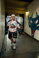 KELOWNA, CANADA - APRIL 8: Calvin Thurkauf #27 of the Kelowna Rockets heads for the dressing room after warm up against the Portland Winterhawks on April 8, 2017 at Prospera Place in Kelowna, British Columbia, Canada.  (Photo by Marissa Baecker/Shoot the Breeze)  *** Local Caption ***