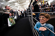 CeBit in Hannover/Lower Saxony is the the world's biggest annual IT fair..Bill Gates as many frustrated users would occasionally like to see him: behind bars.