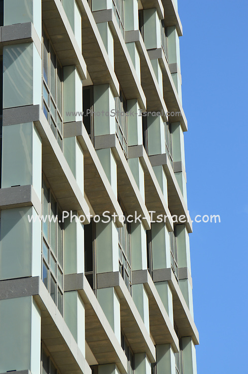 Abstract architecture with blue sky background. Photographed in tel Aviv, Israel