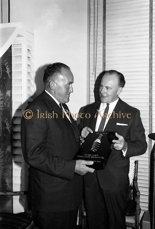 30/6/1964<br /> 6/30/1964<br /> 30 June 1964<br /> <br /> Mr. Paul O'Dea Managing Director Connacht Mineral Water receiving a Pepsi Plaque from Mr. J.L. Leech Managing Director Pepsi