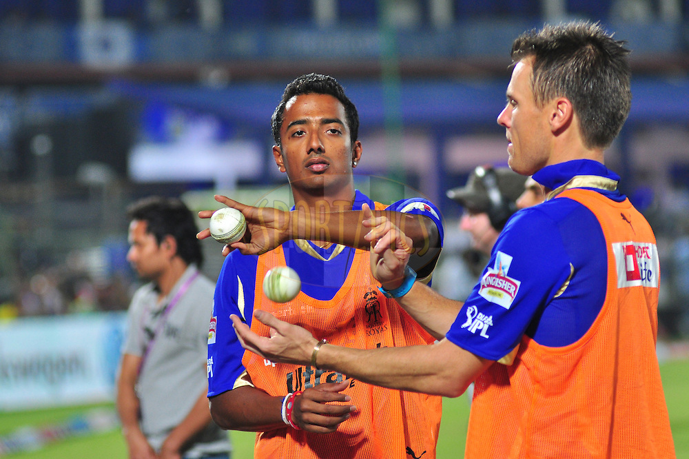 Rajasthan Royals Ankeet Chavan during match 30 of the the Indian Premier League ( IPL) 2012  between The Rajasthan Royals and the Royal Challengers Bangalore held at the Sawai Mansingh Stadium in Jaipur on the 23rd April 2012..Photo by Arjun Panwar/IPL/SPORTZPICS