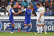 Ipswich Town forward Freddie Sears (20) scores a goal 1-2 and celebrates during the EFL Sky Bet Championship match between Swansea City and Ipswich Town at the Liberty Stadium, Swansea, Wales on 6 October 2018.